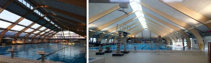 Svømmehallen set indefra før renoveringen (tv) og efter renoveringen (th).